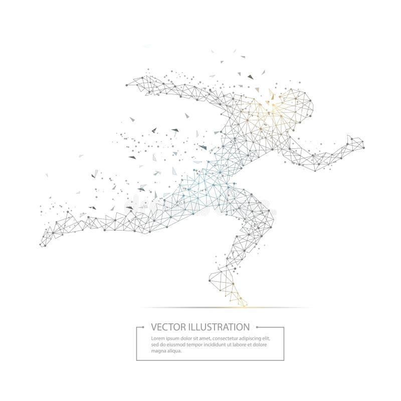 Bas poly cadre de fil de noir courant d'homme dessiné par Digital illustration de vecteur