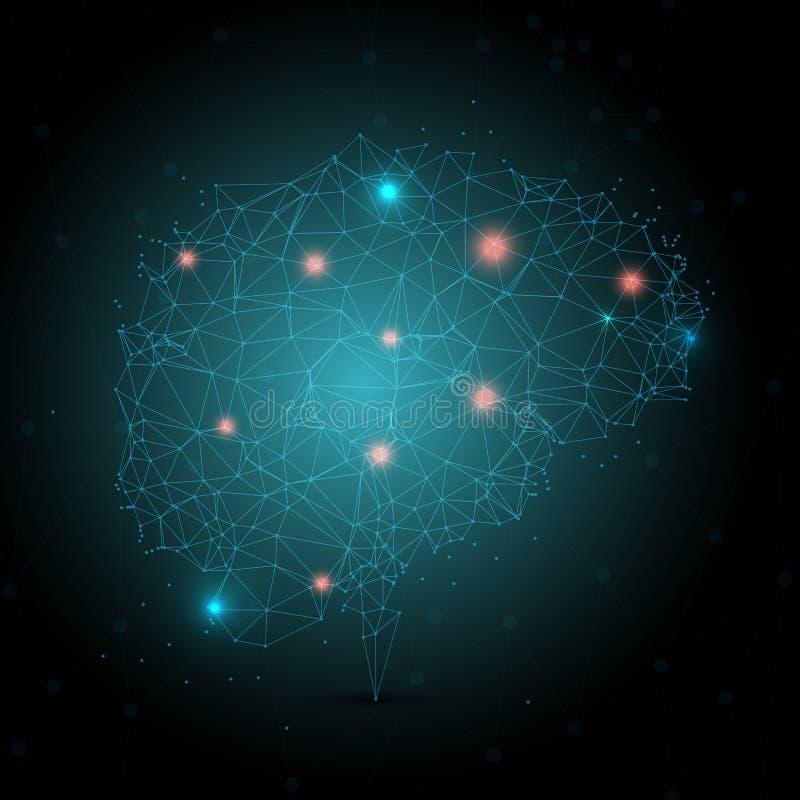 Bas poly cerveau avec les points rougeoyants illustration de vecteur