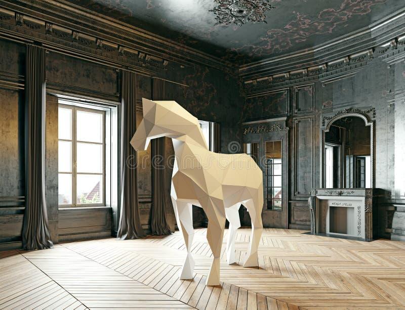 Bas-poly cheval de style illustration libre de droits