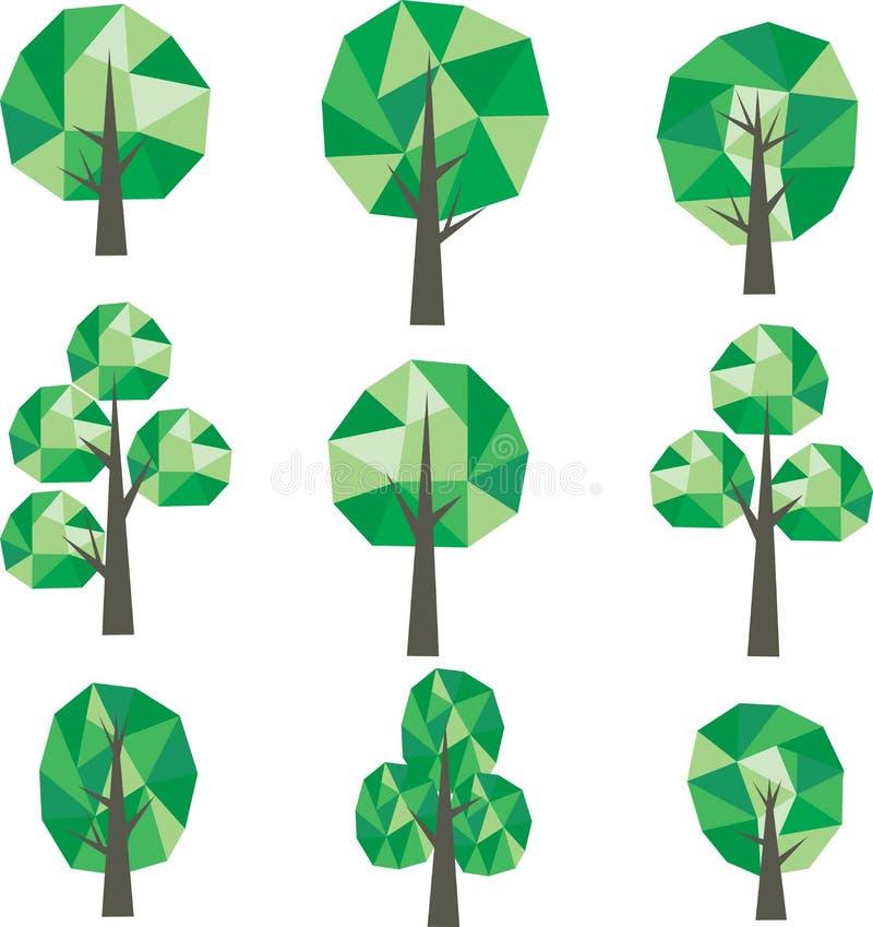 Bas poly clipart (images graphiques) d'arbres illustration de vecteur