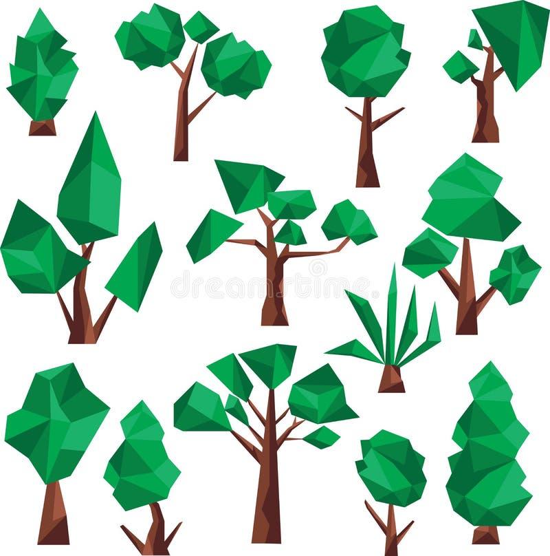 Bas poly clipart (images graphiques) d'arbres illustration libre de droits