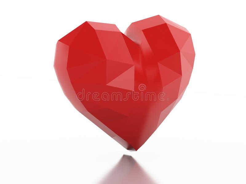 bas poly coeur 3d Concept d'amour illustration libre de droits