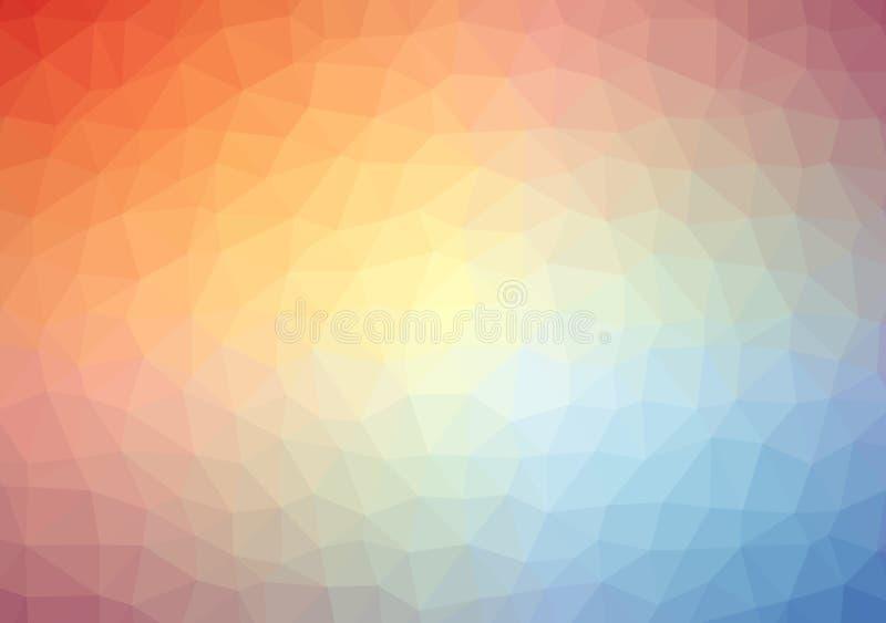 Bas poly cristal léger multicolore lumineux de modèle de gradient de couleur de fond de triangle, illustration de couleur plate d illustration libre de droits