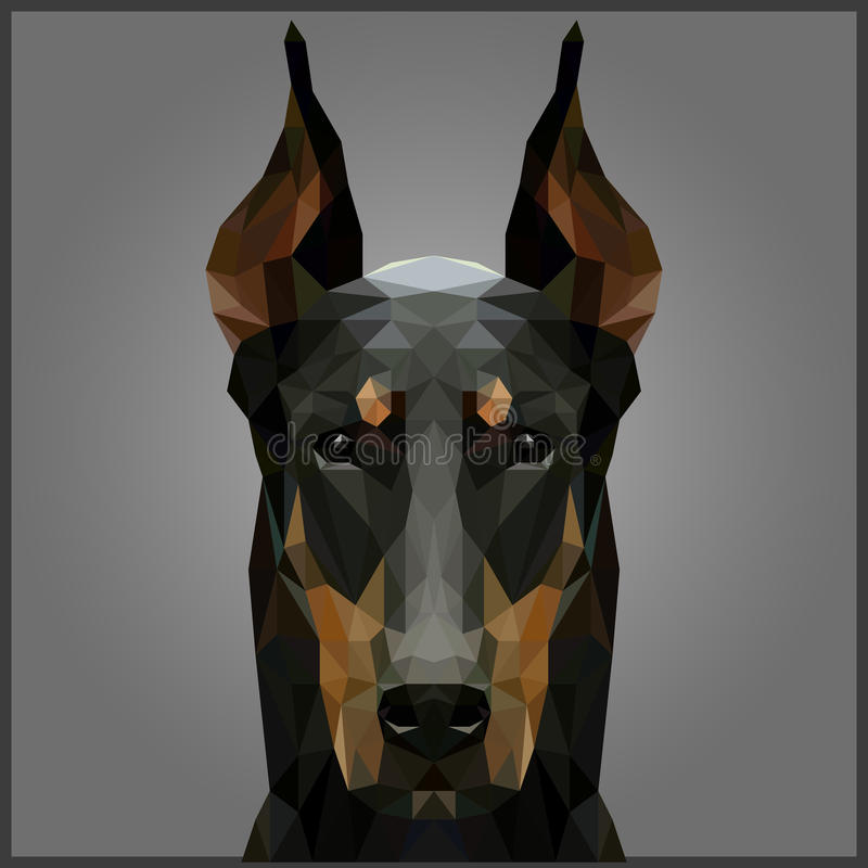 Bas poly dobermann illustration stock