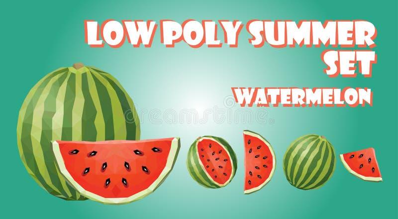 Bas poly ensemble d'été Polygone de fruit de pastèque illustration stock