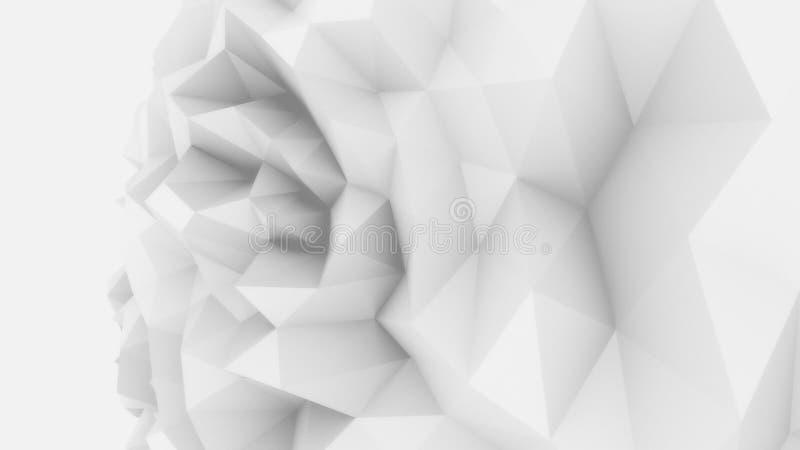 Bas poly fond énervé blanc de sphère pour des rapports et des présentations modernes rendu 3d photo stock