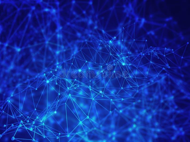bas poly fond du résumé 3D, connexions de réseau numérique, technologie moderne illustration libre de droits