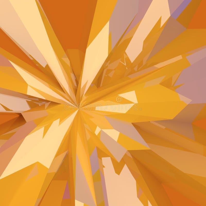 Bas poly fond en verre jaune cassé abstrait illustration stock