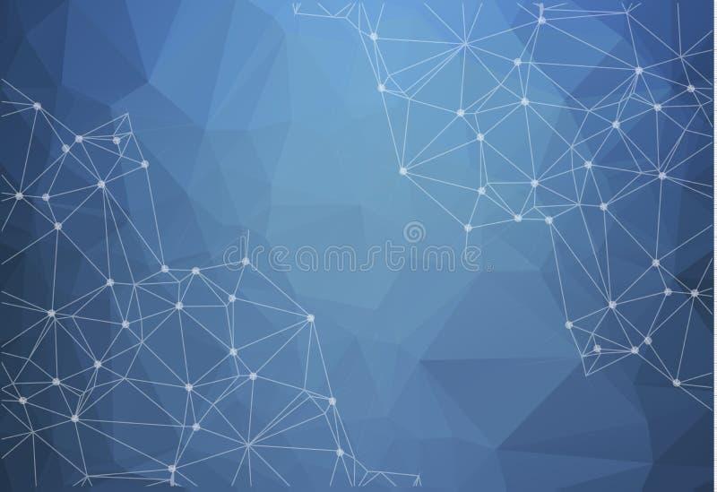 Bas poly fond lumineux bleu abstrait de vecteur de technologie conn. illustration stock