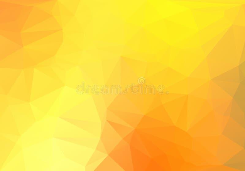 Bas poly fond triangulaire fripé géométrique abstrait orange de graphique d'illustration de vecteur de style illustration stock
