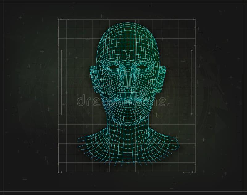 Bas poly humain ou humanoïde de visage D'isolement illustration de vecteur