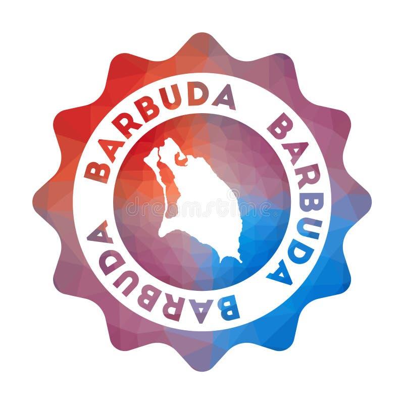 Bas poly logo de Barbuda illustration stock