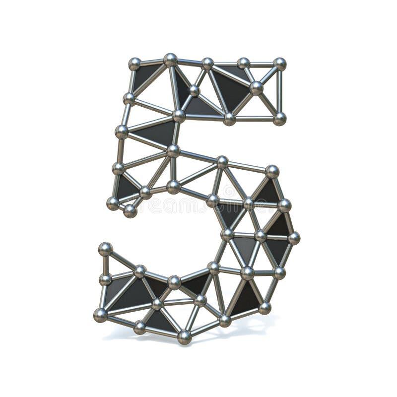 Bas poly métal noir numéro 5 de fil CINQ 3D illustration stock