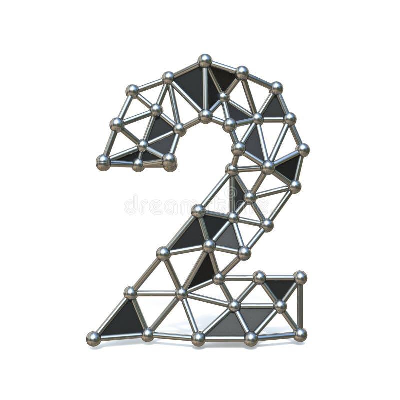Bas poly métal noir numéro 2 de fil DEUX 3D illustration libre de droits
