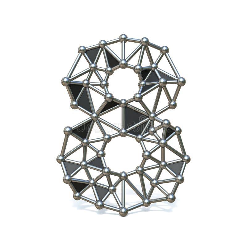 Bas poly métal noir numéro 8 de fil HUIT 3D illustration stock