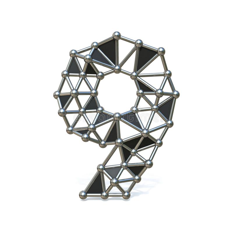 Bas poly métal noir numéro 9 de fil NEUF 3D illustration de vecteur