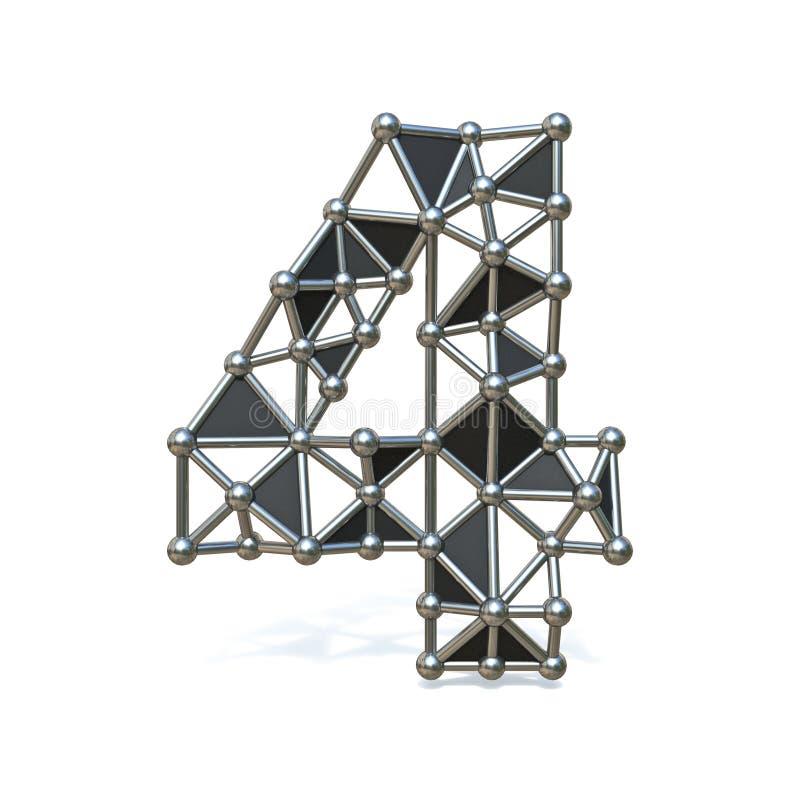 Bas poly métal noir numéro 4 de fil QUATRE 3D illustration stock