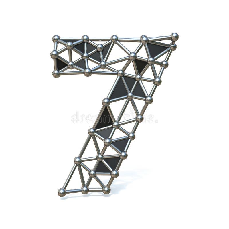 Bas poly métal noir numéro 7 de fil SEPT 3D illustration de vecteur