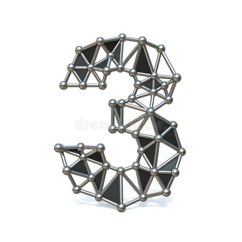 Bas poly métal noir numéro 3 de fil TROIS 3D illustration stock