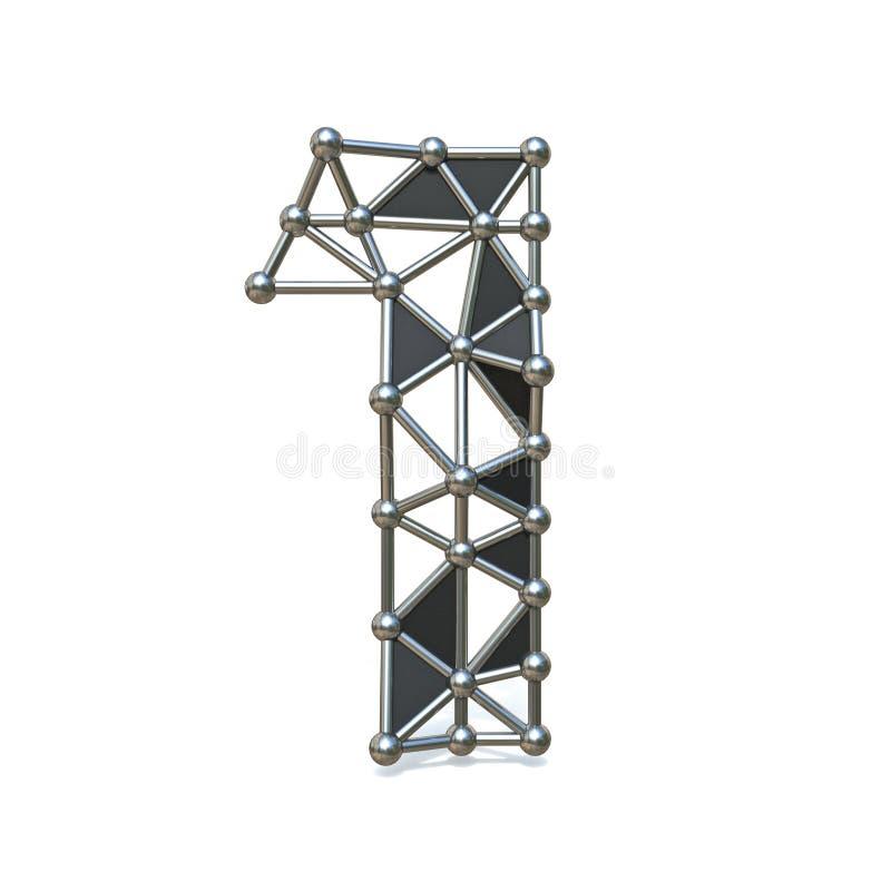 Bas poly métal noir numéro 1 de fil UN 3D illustration libre de droits