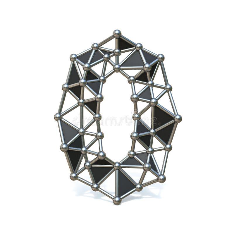 Bas poly métal noir numéro 0 de fil ZÉRO 3D illustration libre de droits