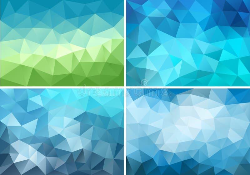 Bas poly milieux bleus et verts, ensemble de vecteur illustration stock