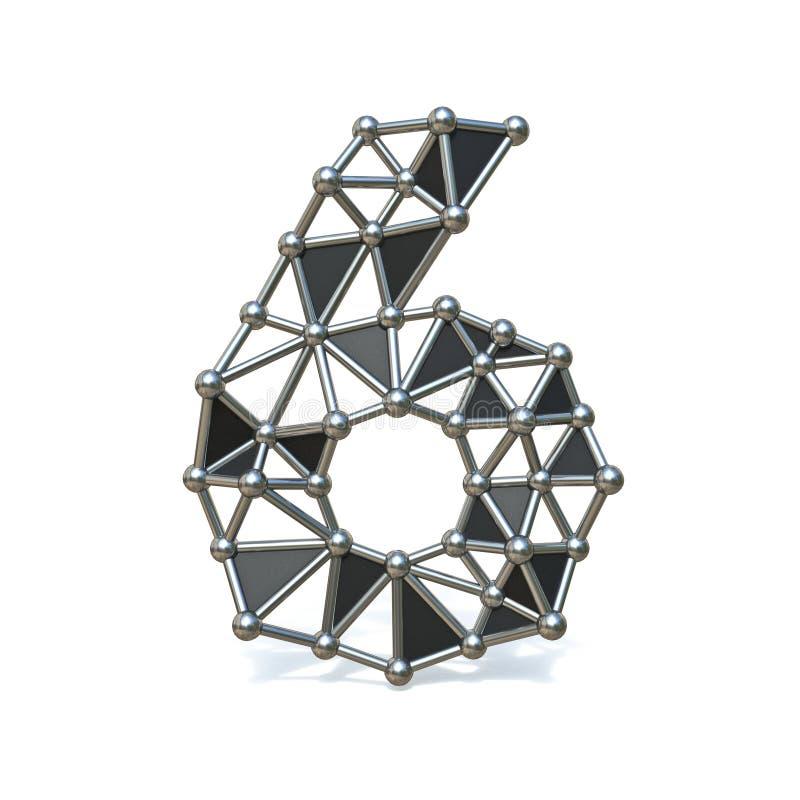 Bas poly nombre noir en métal de fil 6 SIX 3D illustration libre de droits