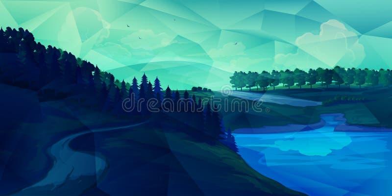 Bas poly paysage illustration stock