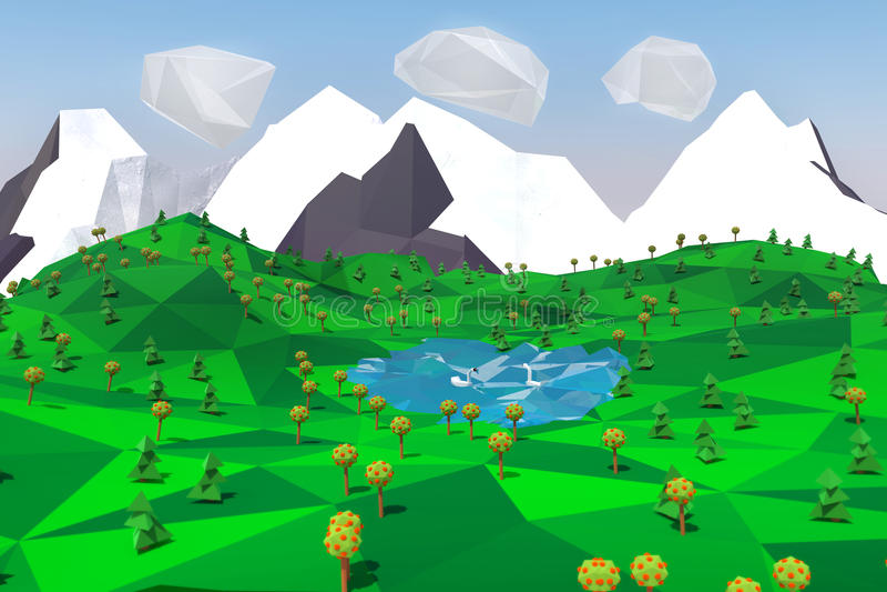 Bas poly paysage avec les montagnes, le lac, les arbres et les cygnes illustration 3D illustration stock