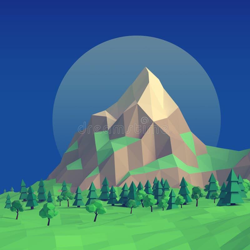 Bas poly paysage 3d d'été de nuit illustration de vecteur