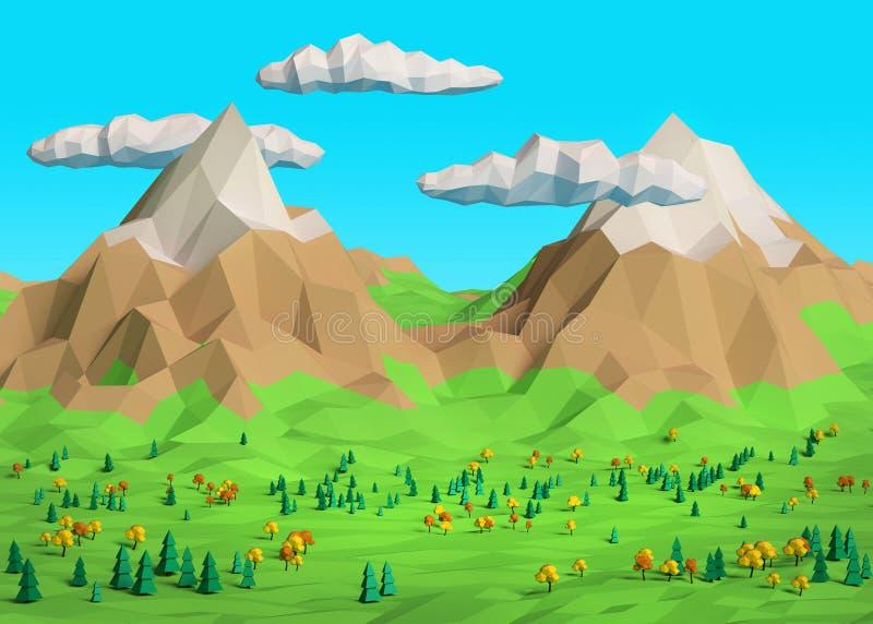 Bas poly paysage de l'automne 3D illustration libre de droits