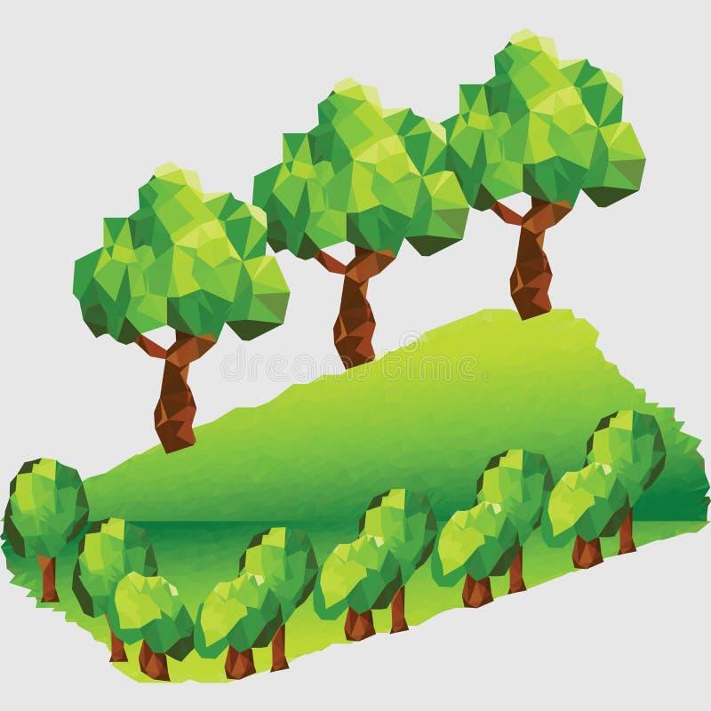 Bas poly paysage de montagne avec des arbres illustration libre de droits