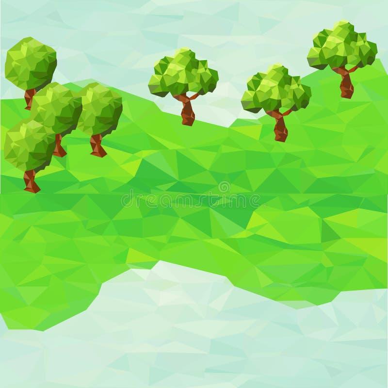 Bas poly paysage de montagne avec des arbres illustration stock