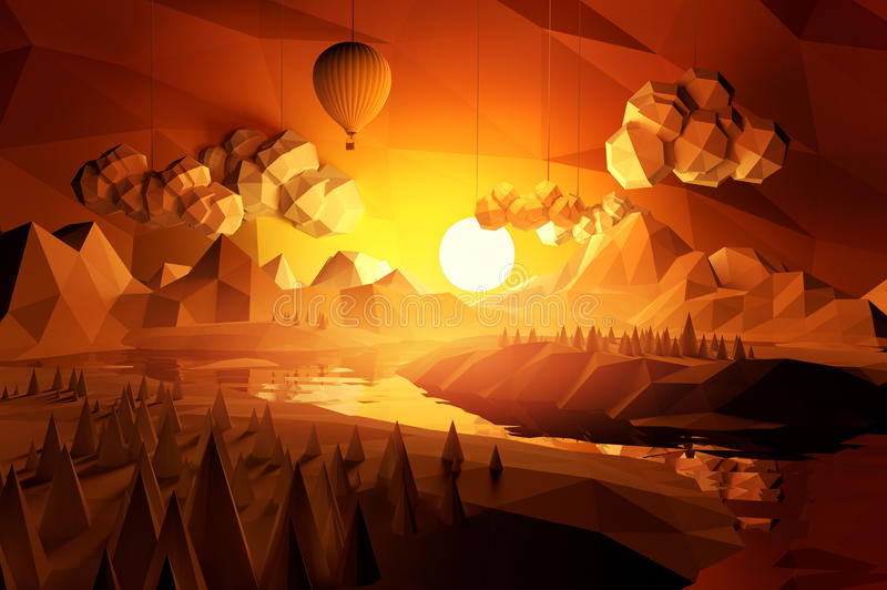 Bas poly paysage scénique illustration stock