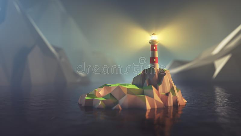 Bas poly phare illustration stock