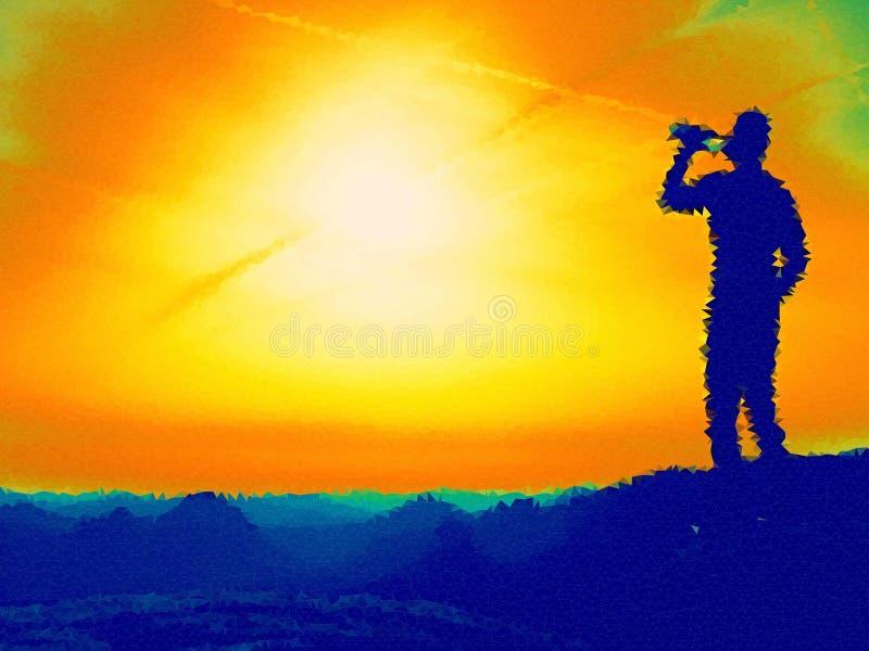 bas poly Regard à l'horizon Homme sur une roche regardant à l'horizon illustration libre de droits