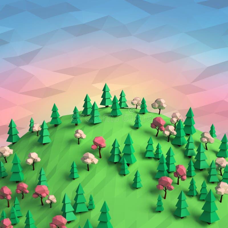 Bas poly ressort/paysage 3d d'été illustration libre de droits