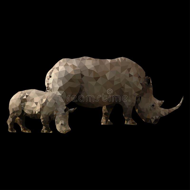 Bas poly rhinocéros avec le bébé image stock
