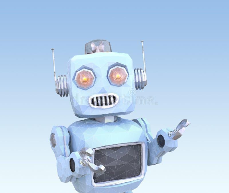 Bas poly robot de style avec le cadre de fil d'isolement sur le fond bleu illustration de vecteur