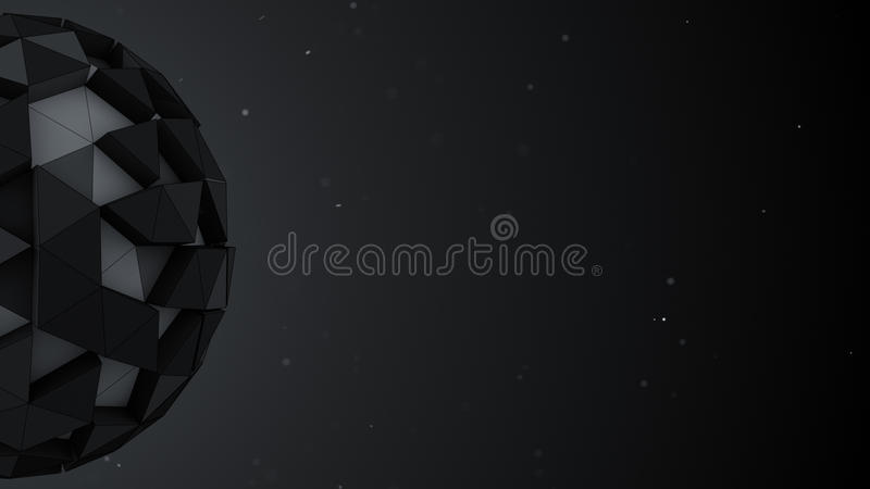 Bas poly sphère et espace libre 3D abstraits rendent l'illustration illustration de vecteur