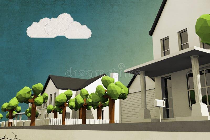 Bas poly voisinage illustration de vecteur