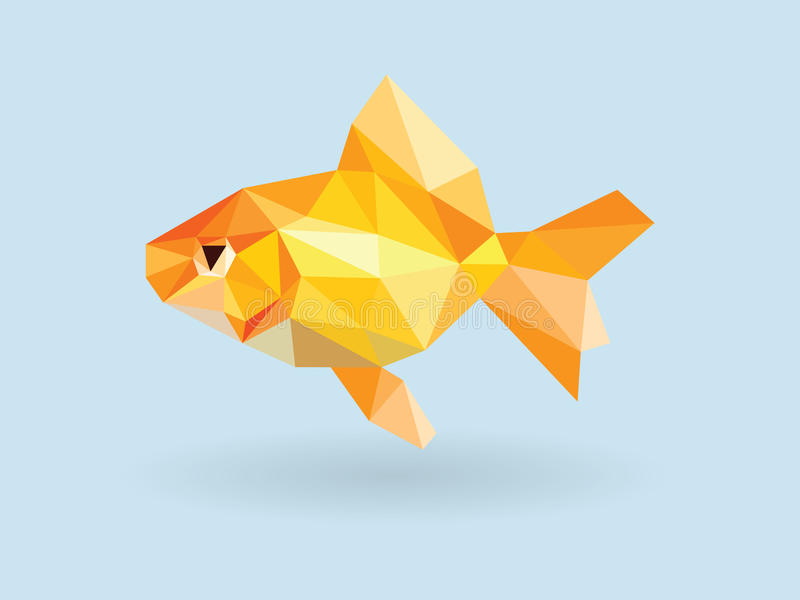 Bas polygone de poisson rouge sur le fond bleu illustration stock