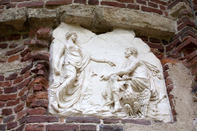 Bas-relevo do grego clássico imagem de stock