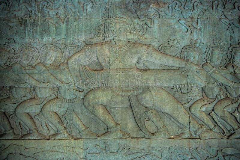 Bas-relevos de Angkor Wat, parque arqueológico de Angkor fotos de stock royalty free