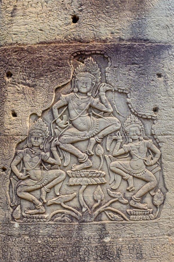 Bas-relief à Prasat Bayon photos stock