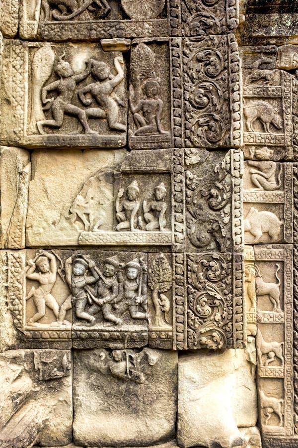 Bas-relief à Prasat Bayon photo stock