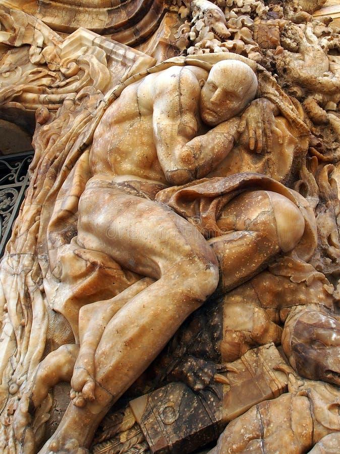 Bas Relief Alabaster Sculptures na fachada do museu nacional da cerâmica, Valência imagens de stock royalty free