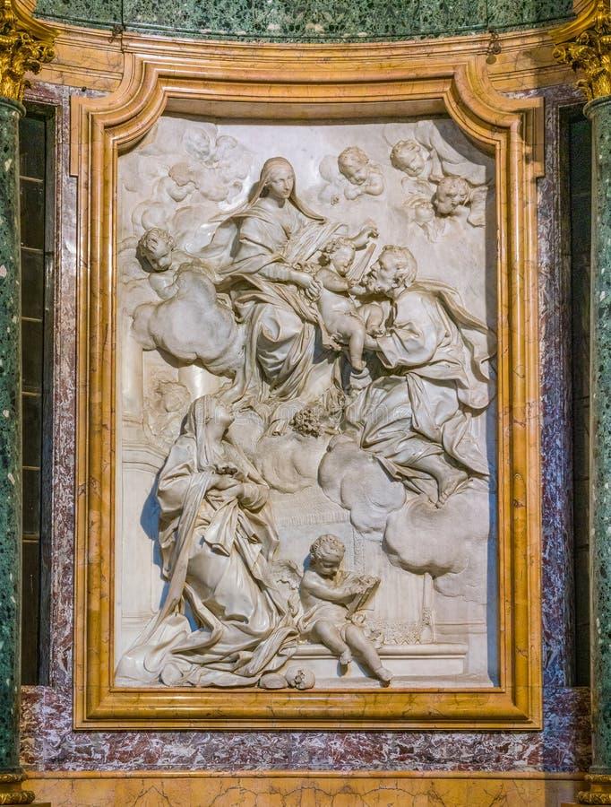 Bas relief in the Altieri chapel in the Church of Santa Maria in Portico in Campitelli in Rome, Italy. Santa Maria in Campitelli or Santa Maria in Portico is a stock photo