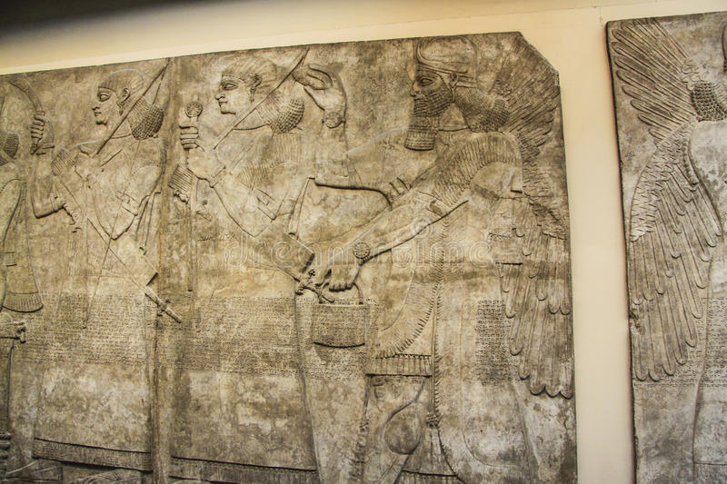Bas relief. This ancient Assyrian art show wonderful detail after so many years to survive into the modern era royalty free stock images