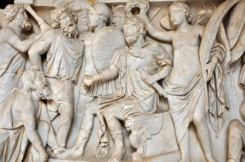 Bas relief of ancient roman people stock photo image